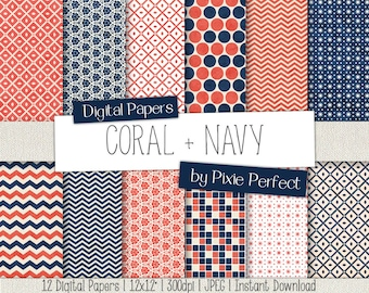 Coral & Navy Blue Digital Paper - CORAL AND NAVY Paper Pack Scrapbooking Paper Pattern Backgrounds, Instant Download Commercial Use ok (20)