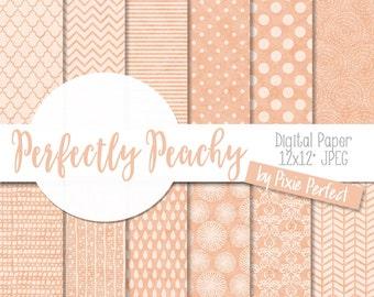 Peach Patterns Digital Paper - PEACH Paper Pack Scrapbook Paper Backgrounds Instant Download Commercial Use ok CU4CU (71)