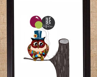 Be the difference-childrens wall Art-colorful illustration-inspiration-Word Prints-Typography