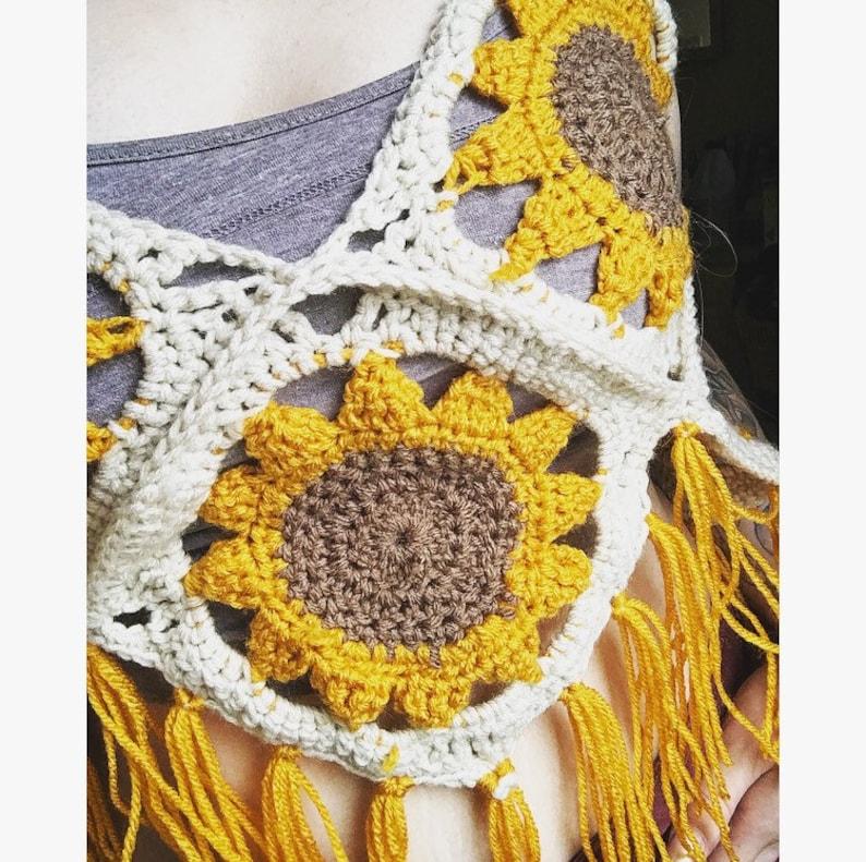 502641af70af61 Sunflower crochet top tank top boho granny square top