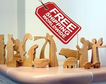 Modern Nativity Set - OAK, Wooden Nativity Set, Oak Wood