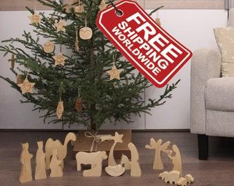 "Wooden Creche, Wood Creche, Creche, Wooden Manger Scene, Creche Scene, Creche Nativity Set, Christmas Creche, Nativity Creche, 7"" tall"