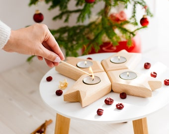 Advent Wreath Candle Holder, Beautiful Christmas Wreath, Wooden Candle Holder, Tealight Holder to Be Used as Thanksgiving Decor