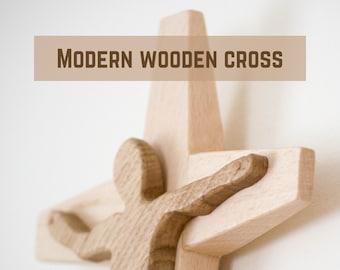 """Wooden Wall Cross, Hanging Wooden Cross, 11"""" Wood Cross, Simple Cross, Modern Cross, Oak Wood, Beech Wood"""