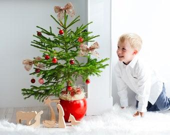"Wooden Nativity / UNOILED / Nativity Scene / Montessori Nativity / Wood Nativity set - 7"" TALL"