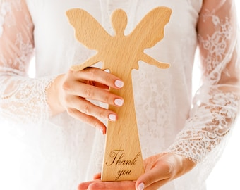 Personalized Gift, Thank You Gift, Thanksgiving Decor, Wood Angel, Give Thanks, Wooden, Elegant, Natural