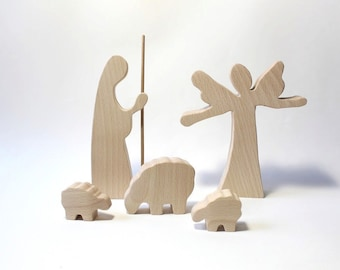 Nativity wood Angel, shepherd and sheep Wooden nativity set Wood nativity Nativity figures Christmas nativity Nativity scene Nativity creche