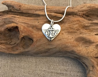 Anchor Heart Silver Pendant