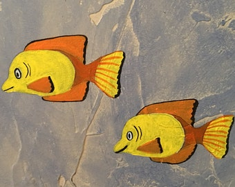Yellow Fish Coral Easy DIY 5W X 7H Paint By Number Wall Art Mural Pattern Printed On Computer Paper Great For Decorating Kids Rooms