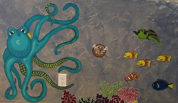Easy ocean wall mural pattern paint by number 33H x Etsy