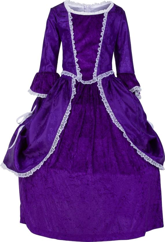 Mercy Otis Warren 18th Century 1700s Colonial Costume Purple Satin Brocade and Velvet Two Piece Dress High Quality Children/'s Clothing