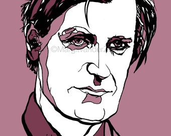 Ted Hughes British poet - Plath - Yorkshire - Writer - high quality giclee print from handmade ink drawing. Poetry literature book library.