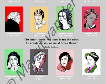 Poster of Female Composers Through the Ages, including quotation by Nadia Boulanger A3 Giclee print High Quality and rare