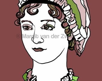 Jane Austen Portrait Print High quality giclée print of the famous British author of Pride and Prejudice, Sense & Sensibility etc