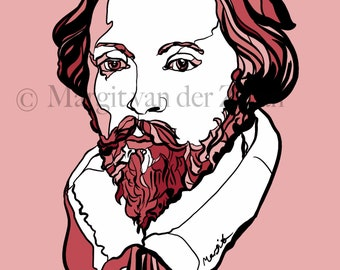 Portrait of the wonderful composer William Byrd. Highly original artwork Giclée print of prolific musician and composer
