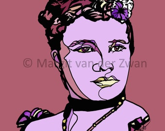 Portrait Print of Queen Liliʻuokalani Hawaiian composer and last reigning monarch of Hawaii. Gift for Musician. Wall art. Royalty.