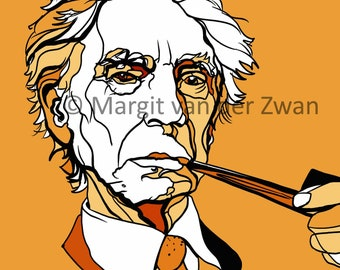 Bertrand Russell, polymath. Giclée print on beautiful paper. Portrait based on ink drawing. Original art made in the UK