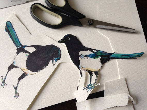 Magpie wall stickers bird wall decal gothic home decor magpie decal two for joy magpie illustration housewarming magpies wall decor