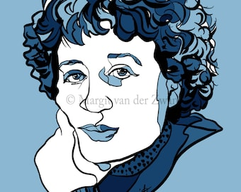 Zara Levina Poster Wall Art of Russian pianist and Composer. One of a series of inspiring composers! Handmade with love in England