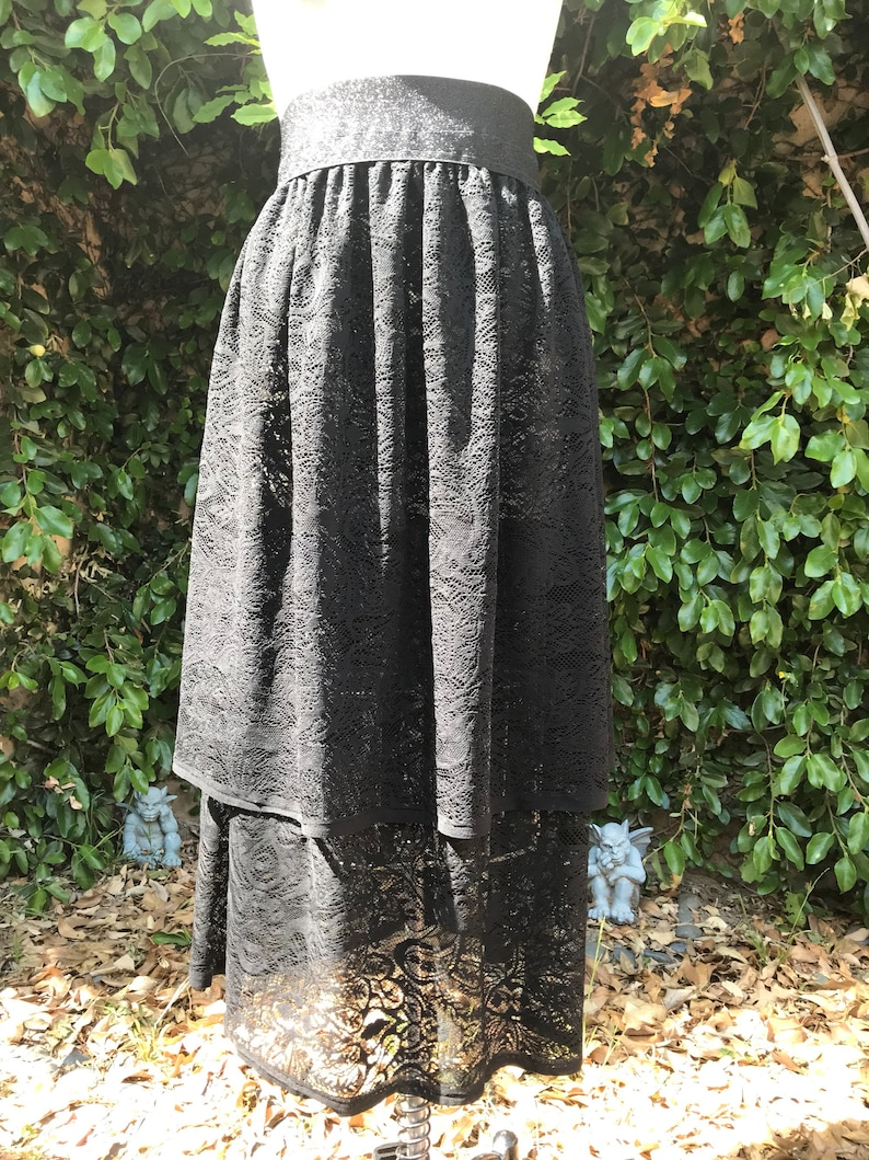 Black Lace Tiered Goth Vampire Skirt with Stretch Sparkle Waistband