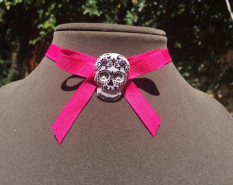Pink Lolita Bow Sugar Skull Choker Necklace Halloween Goth Pin-up