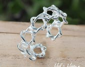 925 Silver Fashion Hexagram Thorns Openings Ring Adjustable Shell Flower Leaf Ring Women Branch Ring Silver Jewelry hand made