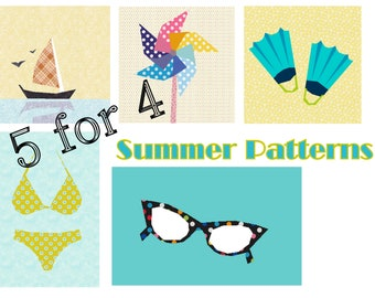 Summer Patterns- paper pieced PDF- 5 for 4