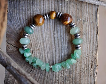 Bracelet - Green Aventurine and Natural Wood Beaded Stretch Bracelet (Natural Jewelry, Bohemian Jewelry, Rustic Jewelry)
