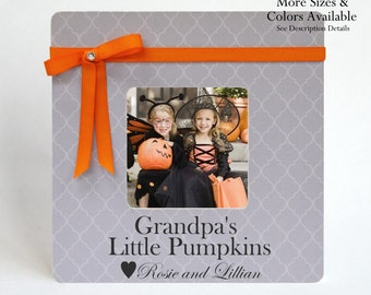 Grandpa Picture Frame Gift to Grandfather Personalized Grandchildren Grandkid Baby Photo Frame Halloween Fall Grandparent Gift Ideas Decor