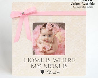 Mother Gift to Mom Picture Frame Ideas Birthday New Mommy Push Present Pregnancy Expecting Baby Newborn Personalize Custom Home Is Where My