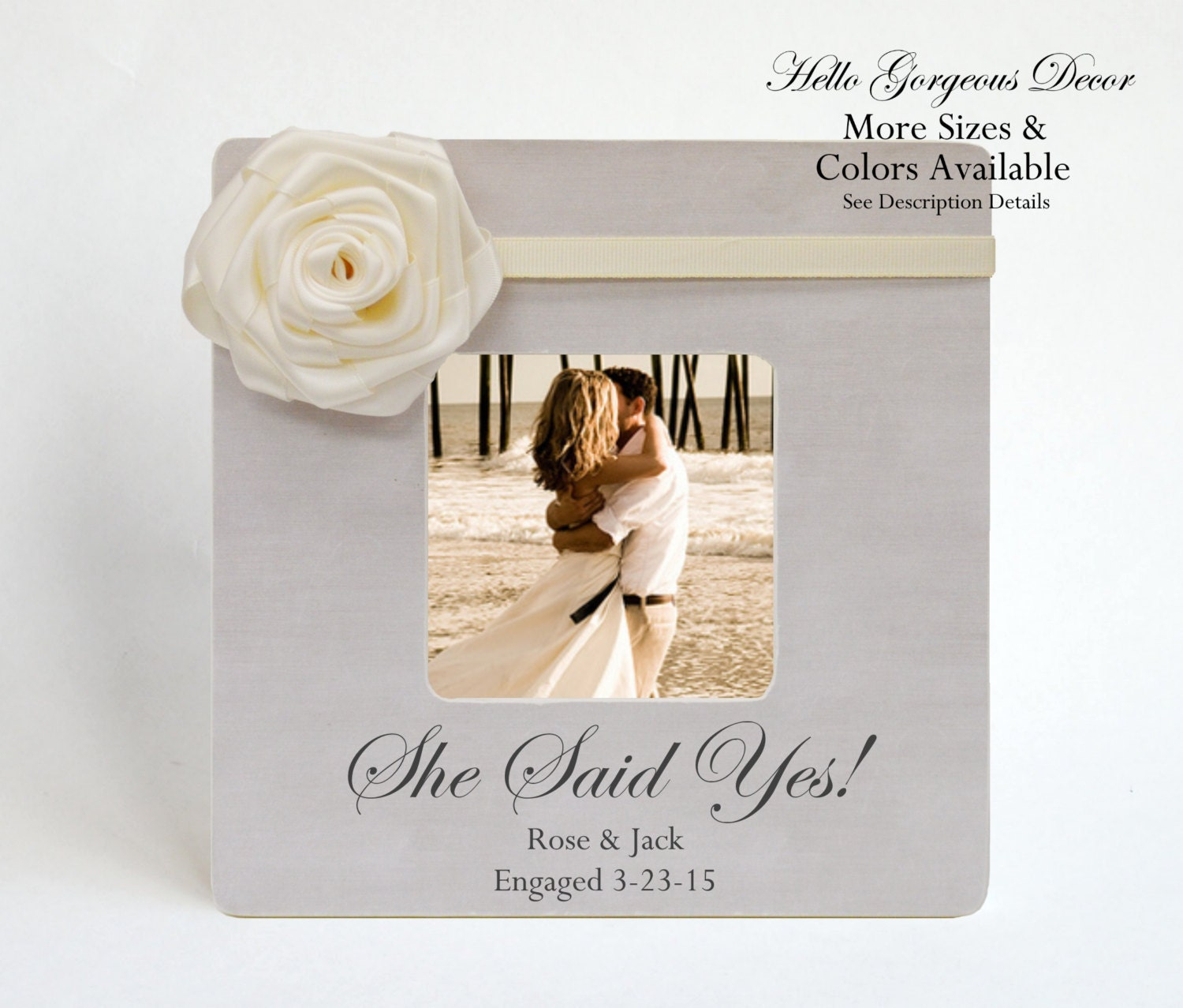Engagement Gift to Couple Picture Frame Personalized SHE SAID YES ...