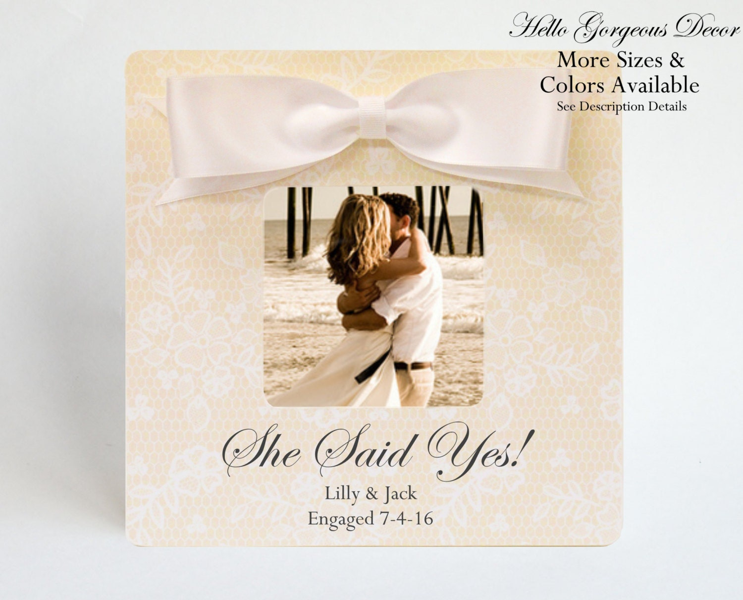 Engagement Gift to Couples PICTURE FRAME Personalized She Said Yes ...