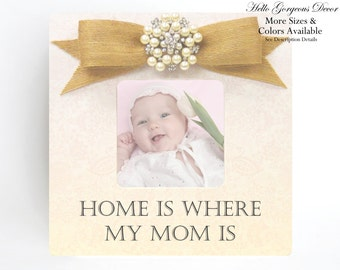 Mother Picture Frame Gift Ideas Mom Mommy New Baby Shower Pregnancy Expecting Present from Kids Birthday Nursery Decor Home Is Where My Mom