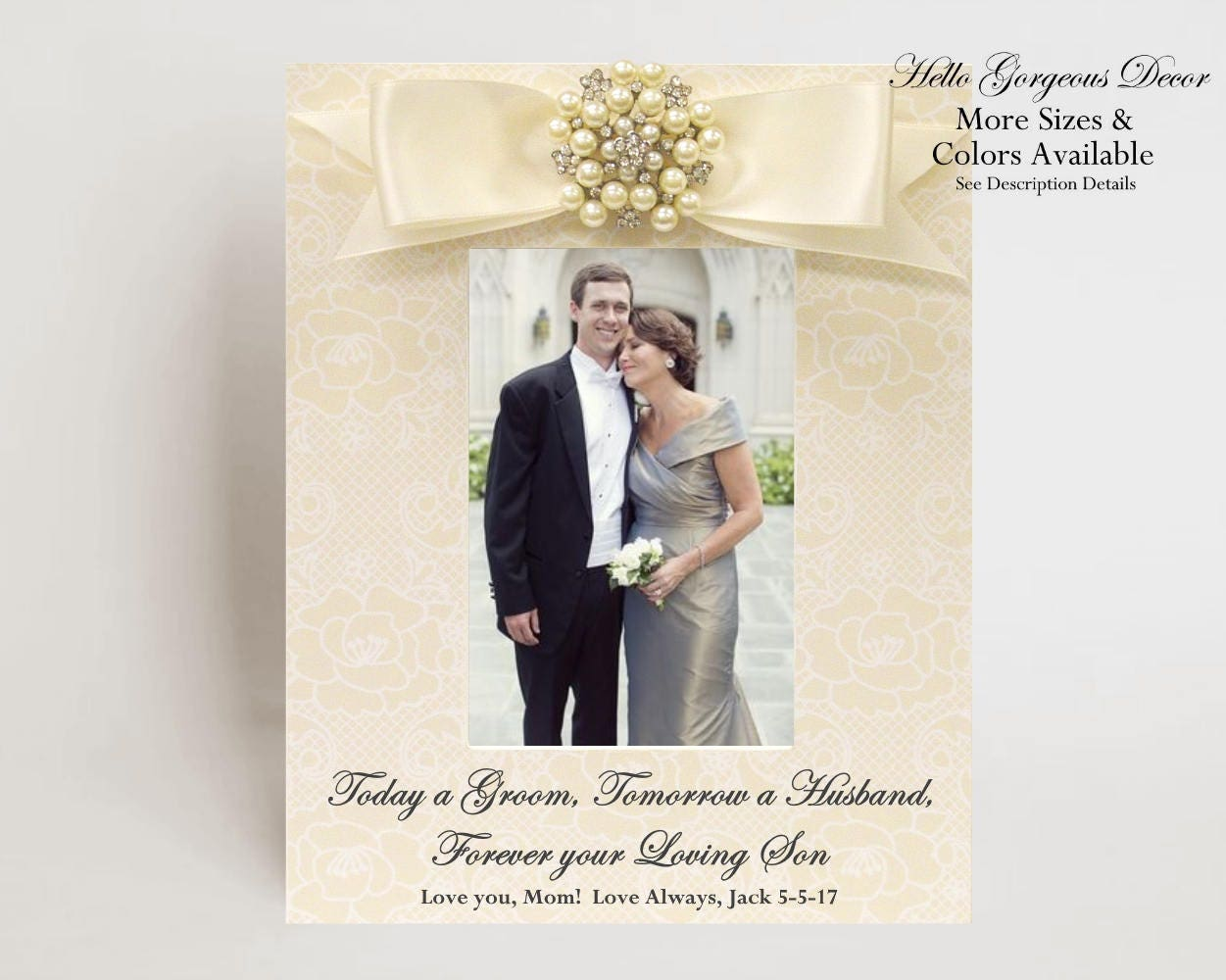 Mother of the Groom PICTURE FRAME Gift to Mom Parent from Son on ...