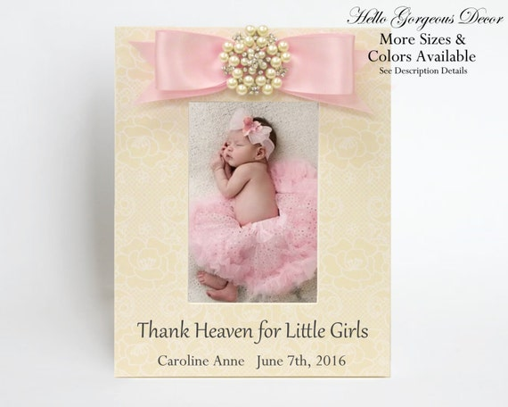 Baby picture frame gift for new baby girl personalized baby shower baby picture frame gift for new baby girl personalized baby shower gift newborn photo frame pink girl nursery decor push present gift ideas from negle Gallery