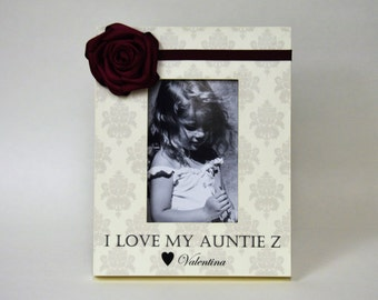 Personalized Aunt Gift Picture Frame I LOVE MY AUNTIE Ideas Custom Photo Niece Nephew Names New Baby Birthday Present Uncle