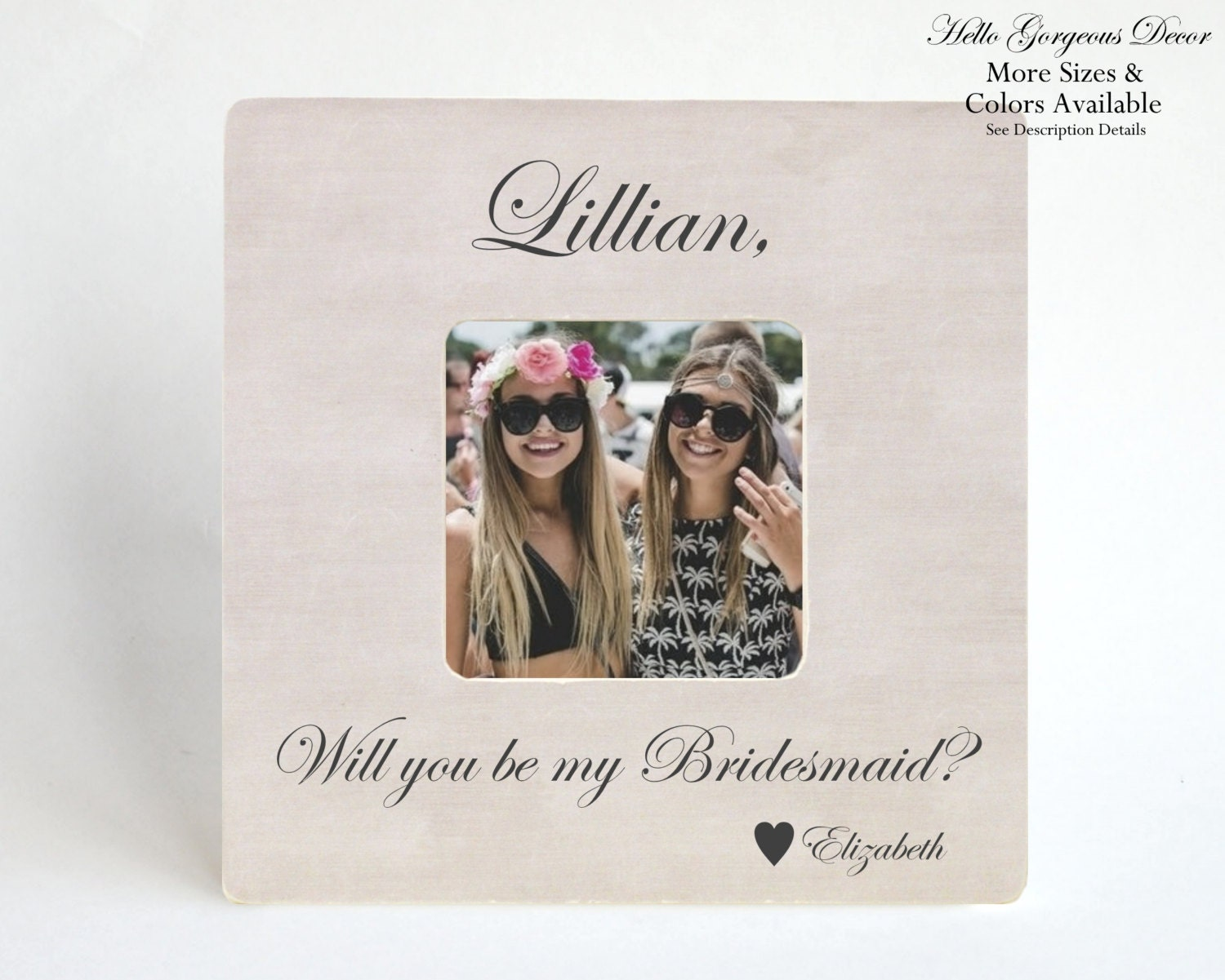 Will You Be My Bridesmaid Picture Frame Gift Personalized