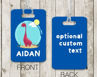 Diaper Tag - Boy Bag Tag - Boy Luggage Tag - Personalized Tag - Boy Batch - First Vacation Tag - School Bag Tag - Dinosaur - Birthday Gift