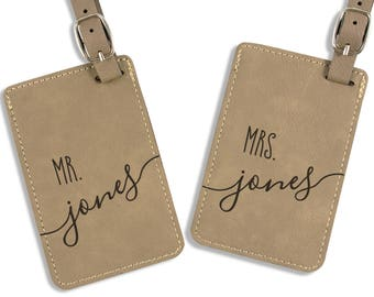 Wedding Gift - Personalized Luggage Tag - Leatherette Bag Tag - Customized - Mr and Mrs Tags - His & Hers Luggage Tags - Bridal Shower Gift