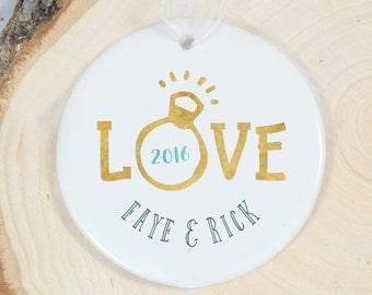 Personalized Ornament - Engagement Ring Ornament - Love Porcelain Ornament