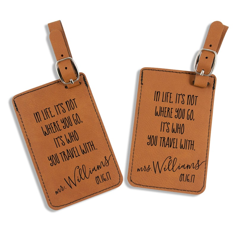 3be296d5217 Mr and Mrs Luggage Tags Wedding Gift Travel Quote Luggage