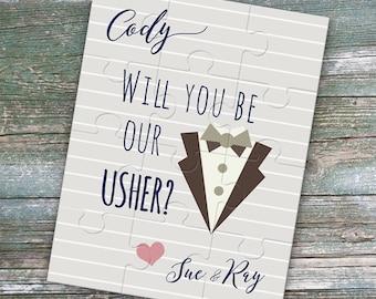 Will you be my usher puzzle - usher proposal - custom puzzle - usher gift - ring bearer - junior groomsman