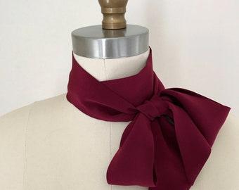 "Wine silk skinny scarf. 60""x 2"" Skinny tie. Silk bow neck scarf. Choker Scarf. Long thin scarf. Burgundy sash. Wine ascot. Gift for her."