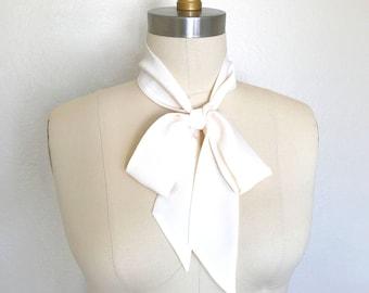 "Soft white or ivory silk skinny scarf. 53""x 2"" Bow neck scarf. Long thin scarf. Wear as a choker scarf, sash or as a headscarf. Ascot."