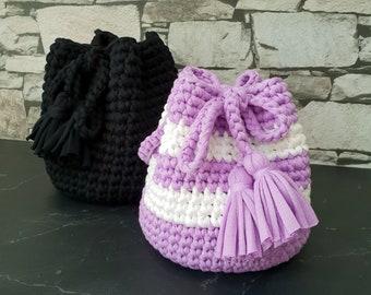Crochet Pattern for Mini Bucket Bag with Tassels