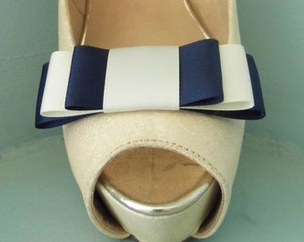 2 Small Navy Blue Triple Bow Clips for Shoes other colours on request