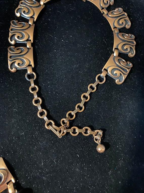 Vintage Mid Century Modern Copper Necklace & Brac… - image 5