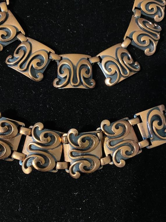 Vintage Mid Century Modern Copper Necklace & Brac… - image 2