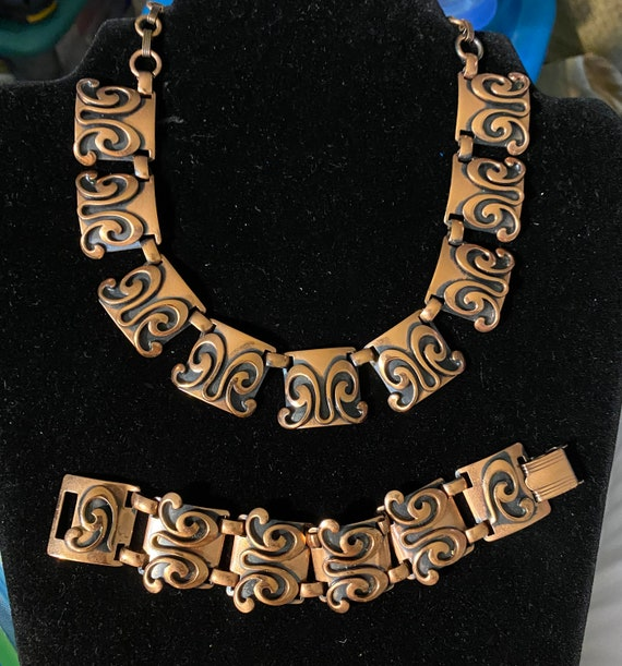Vintage Mid Century Modern Copper Necklace & Brac… - image 1