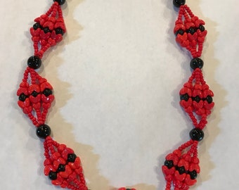 Antique Red & Black Glass Bead Necklace Made in Germany